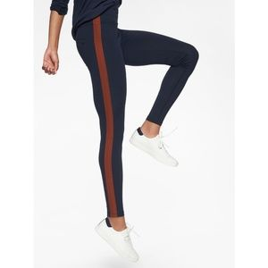 Athleta Trak Tux copper racing stripe leggings